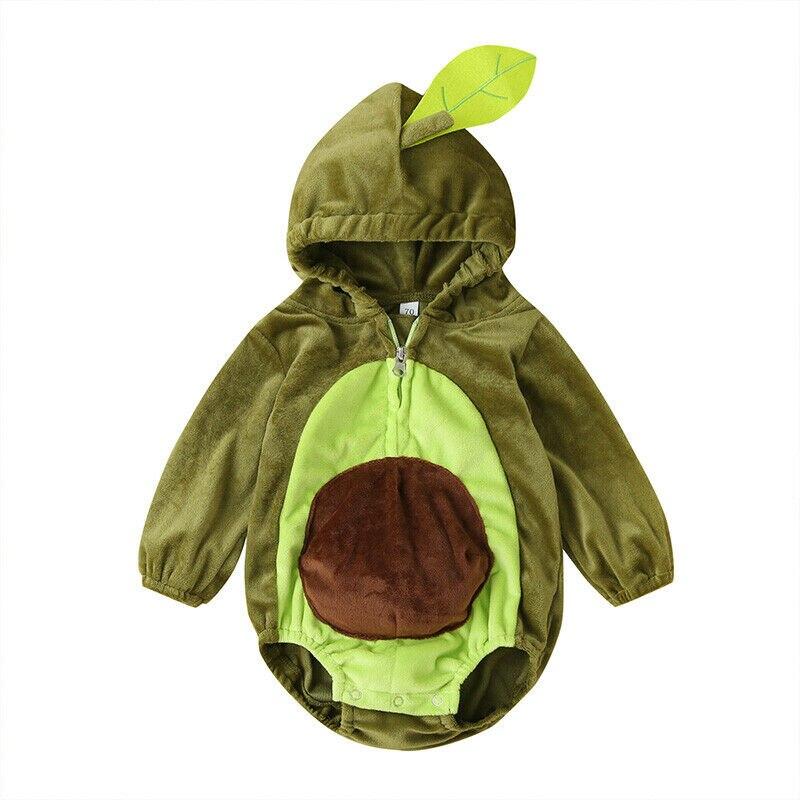 Теплые зимние комбинезоны для новорожденных мальчиков и девочек от 6 до 24 месяцев, Плюшевый комбинезон с длинными рукавами и рисунком авокадо, осенние детские костюмы