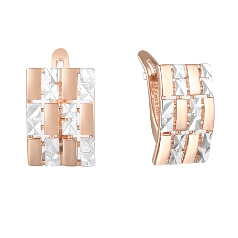 Fj mulher sem jóias de pedra 585 rosa ouro cor misturada branco quadrado brincos de gota larga