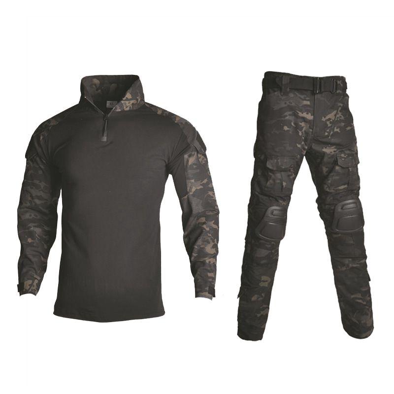 Uniforme militar de camuflaje, ropa de caza, juego táctico de rana, traje de Ghillie para Paintball Airsoft, camisa + Pantalones, coderas y rodilleras