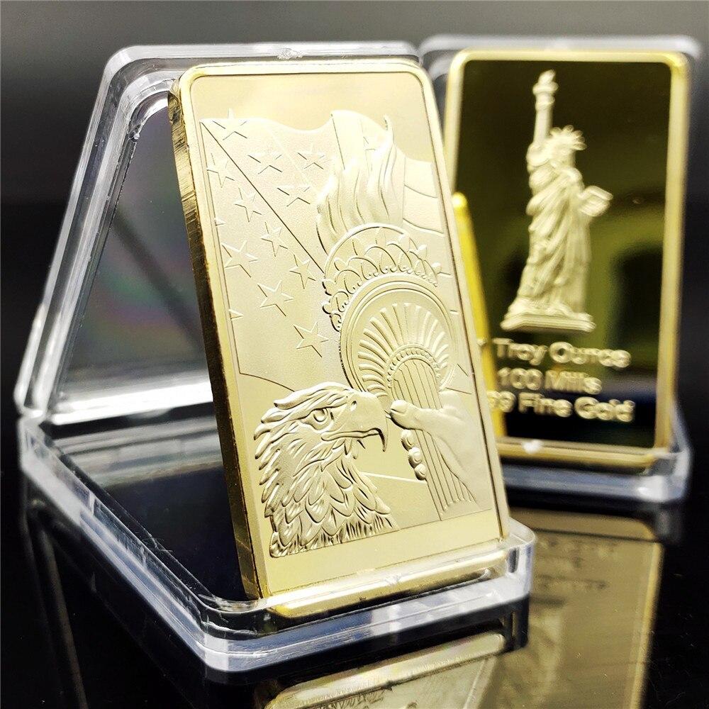 Американская статуя искусственных монет, квадратная памятная монета золотого орела, океана, золотая монета, золотая монета, серебряная мон...