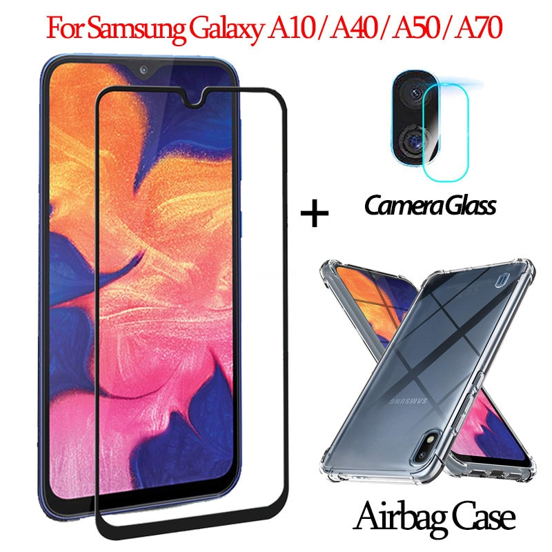 3 en 1 carcasa, Capa, Funda + vidrio templado Samsung Galaxy A10/A40/A50/A70 protector pantalla samsung a10 a70 a40 Protector de pantalla galaxy a 50 LensGlass Sticker cristal templado samsung a 10