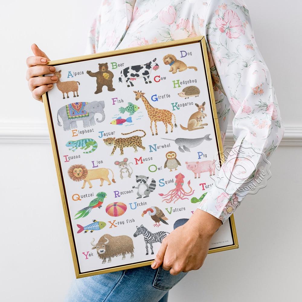 Acuarela letras y animales de letras y animales huellas letras y animales...
