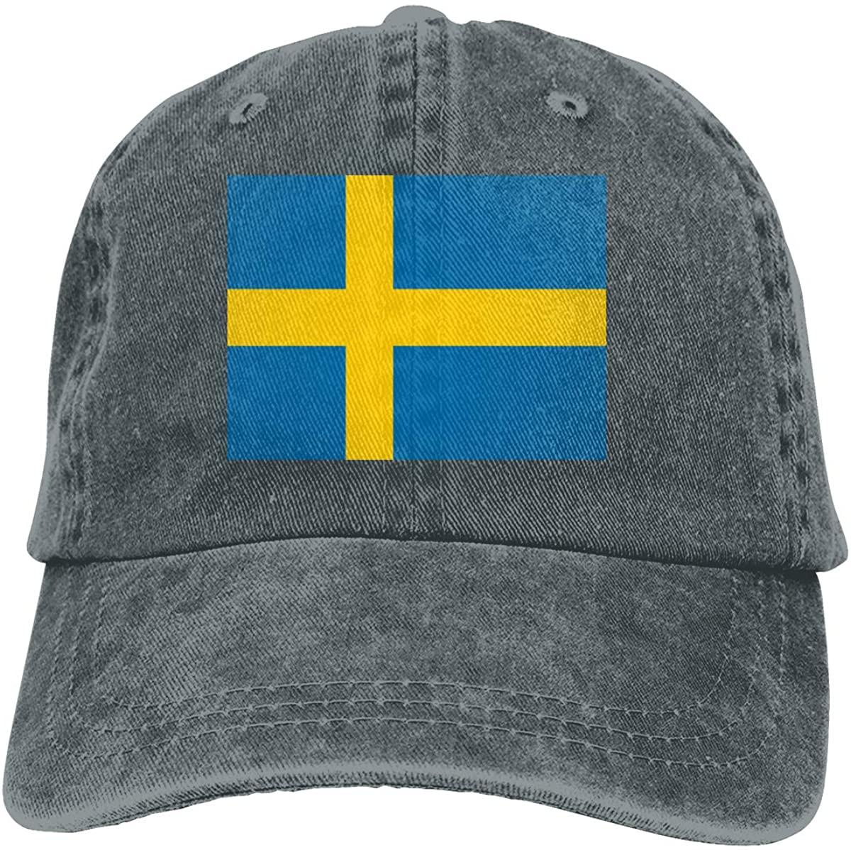 Джинсовая кепка с флагом Швеции, регулируемая простая Кепка, бейсболка s