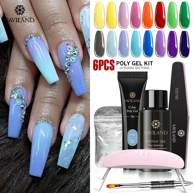 SAVILAND Polygel Nail Kit UV Acryl Builder Hard Extension UV Nail Gel Lamp Quick Camouflage Crystal Jelly Gum Poly Gel Set