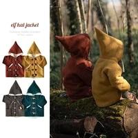 2021 woolen thickened claw button coat baby girls retro elf hat coat autumn and winter new clothes children unisex boys jacket