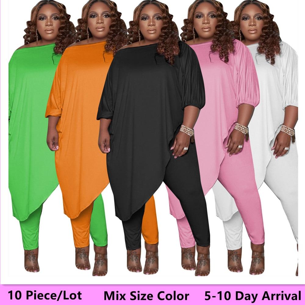 L-5xl البنود بالجملة حجم كبير السراويل مجموعات النساء مزيج حجم اللون قطعتين مجموعة الصلبة طويلة تي شيرت طماق 5-10 يوم وصول