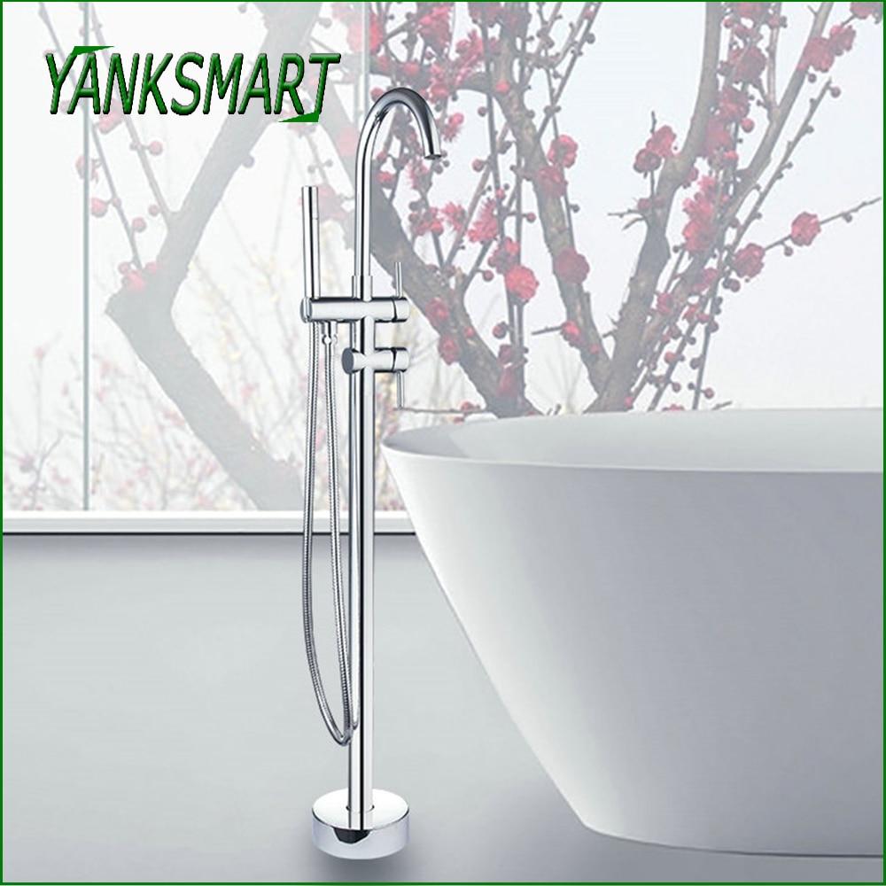 YANKSMART-صنبور حمام مع حامل أرضي مصقول وكروم ، مجموعة صنبور بمقبض مزدوج مع صنبور دوار للحوض والمغسلة