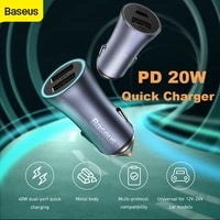 baseus pd 20w car charger usb type c fast charging for iphone 12 pro max car phone charger with qc 4 0 quick charge for huawei