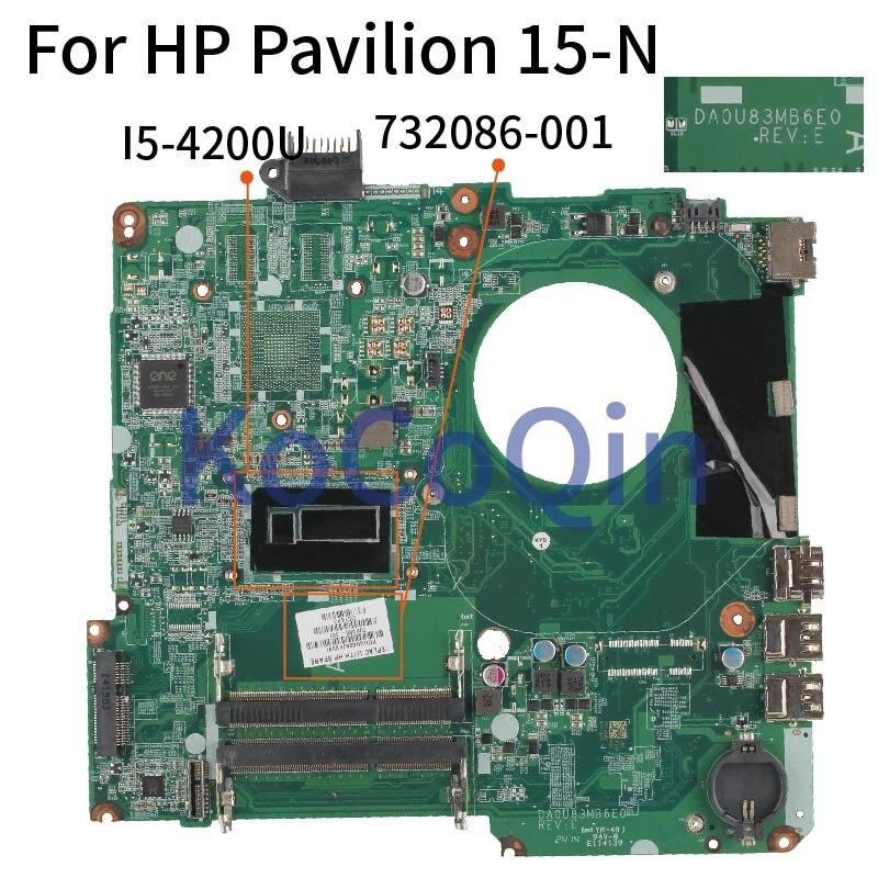 Placa base de ordenador portátil KoCoQin para HP Pavilion 15-N I5-4200U 732086-001 732086-501 DA0U83MB6E0 DDR3