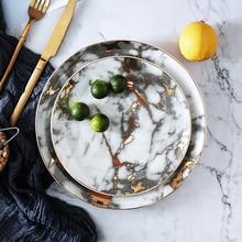 New 1PCS Tableware Marble Plates Ceramic Dinner Set Gold Inlay Porcelain Dessert Plate Steak Salad Snack Cake Plates Wholesale