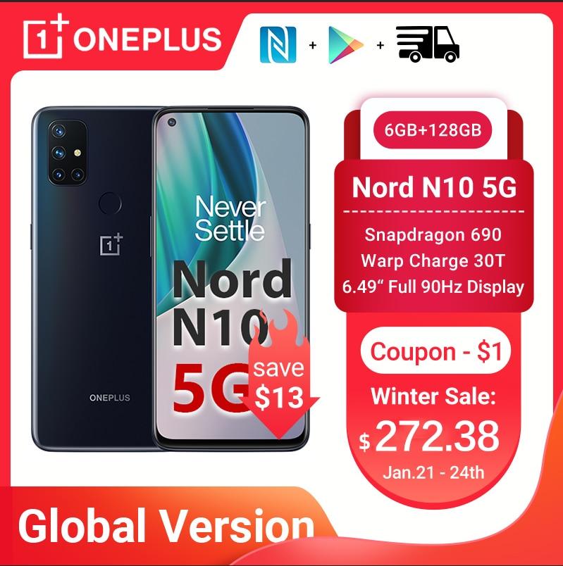 Перейти на Алиэкспресс и купить Чехол из ПВХ для OnePlus Nord N10 5G смартфон глобальная версия 6 ГБ 128 Snapdragon 690 90 Гц Дисплей 64MP Quad камеры Warp 30T NFC мобильные телефоны