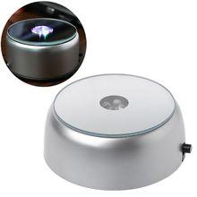 Support de support de Base de lumière lumineuse ronde de 4 LED pour laffichage dobjets transparents en verre de cristal de Cocktail