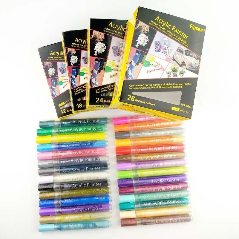 Bolígrafo pintado a base de agua de Color, juego de marcador de cerámica de graffiti de 28 colores