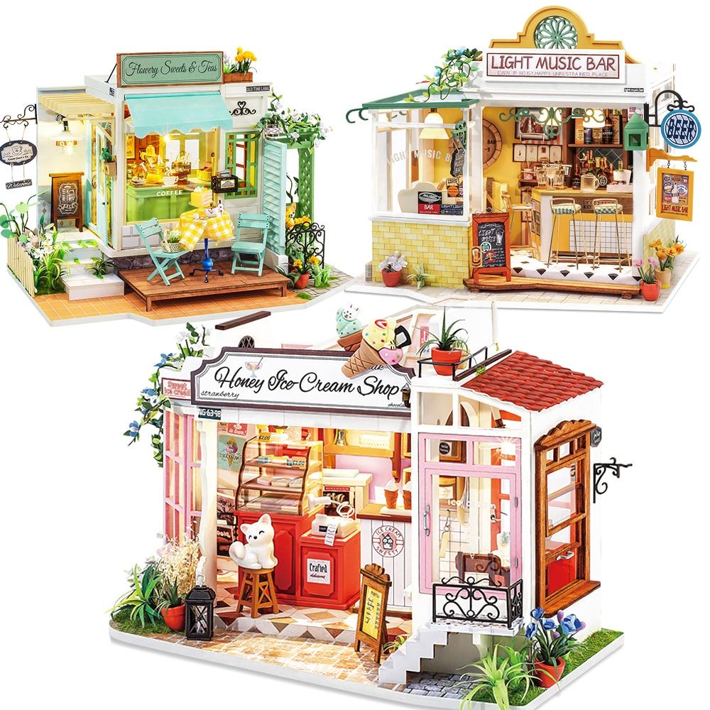 Kit de muebles de madera para Casa de muñecas, accesorios en miniatura...