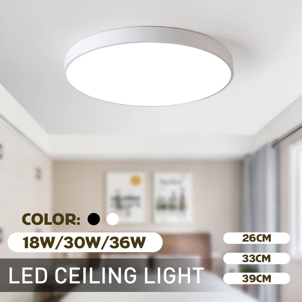 Luces de techo Led soporte empotrado de Led 18 W/30 W/36 W moderna iluminación de techos interiores redondos ultrafinos luz de techo luz de día fría blanca