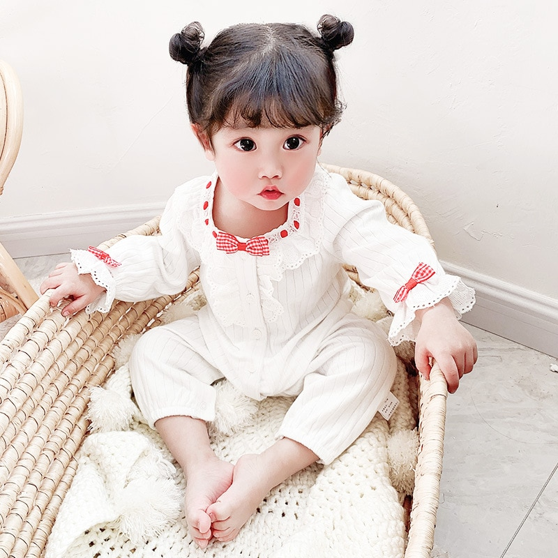 Yg brand children's clothing 2021 spring new lace round neck long sleeve baby one-piece clothes girl