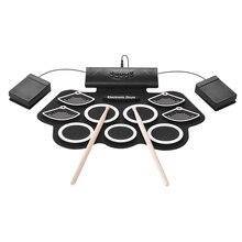 Портативный набор электронных ударных ручных рулонных барабанов 9 силиконовых подушек встроенный стерео динамик с барабанные палочки, ножные педали 3,5 мм кабель