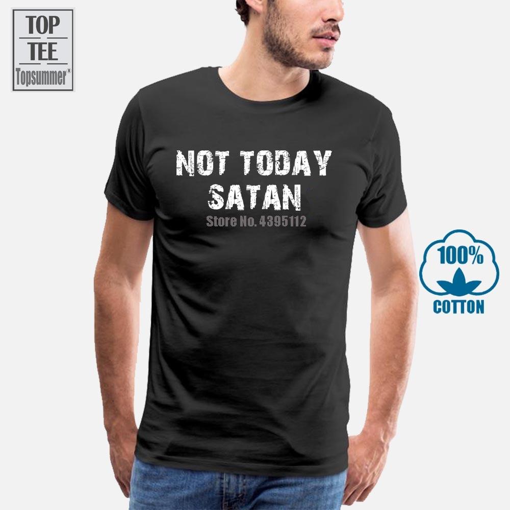 Hoy no Satanás camiseta cristiana religiosa Biblia Jesús Dios cristianismo Tops camisetas hombres 100% algodón