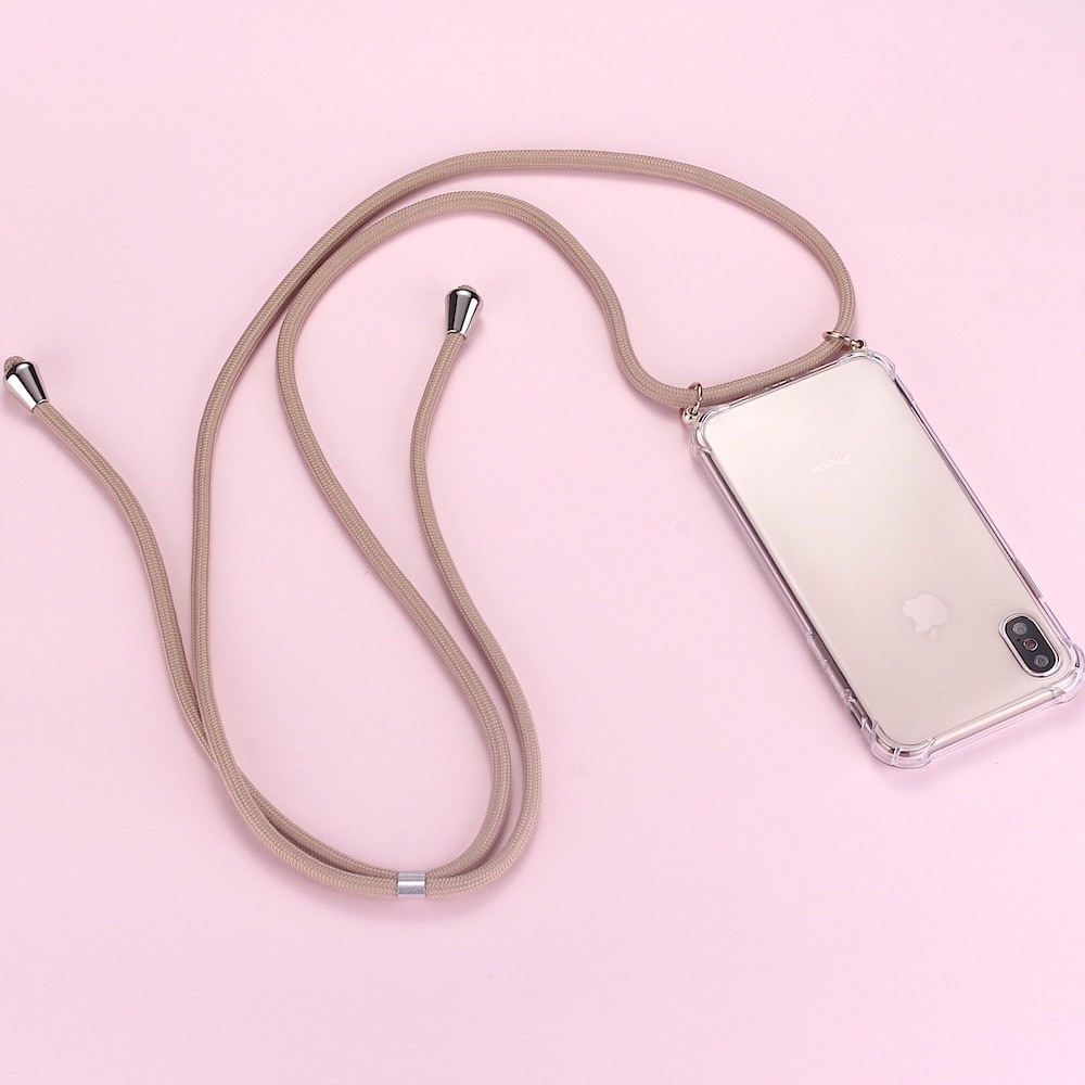 Lujosa carcasa transparente para telefono collar cruzado con estampado y cuerda para...