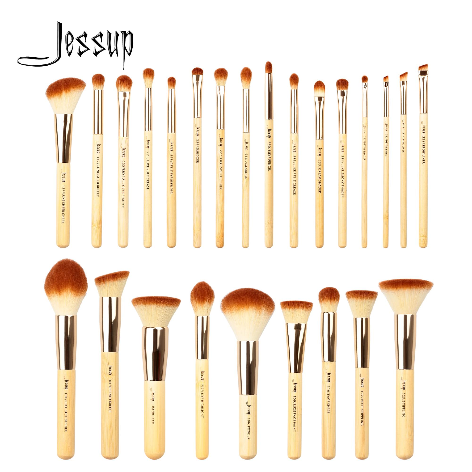jessup conjunto de pinceis de maquiagem de bambu pincel de base em po delineador