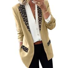 Women Lapel Leopard Patchwork Blazer Long Sleeve Open Front Slim Coat Jacket