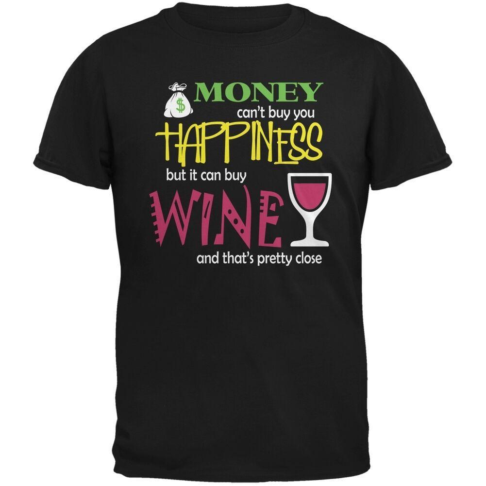 Деньгах счастье вина смешно черный взрослая Футболка короткий Повседневное harajuku футболка