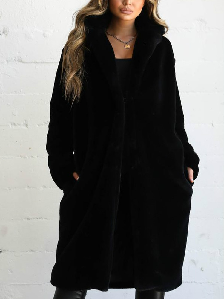 Invierno Faux Fur Coat moda Mujer abrigo largo negro cálido Furry Abrigos Mujer Shaggy otoño chaquetas esponjosas prendas de vestir exteriores Ropa Invierno Mujer