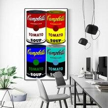 Peinture à lhuile célèbre Andy Warhol   Peinture murale, soupe de Campbell, toile dart classique, peintures murales pour décor de salon, Cuadros