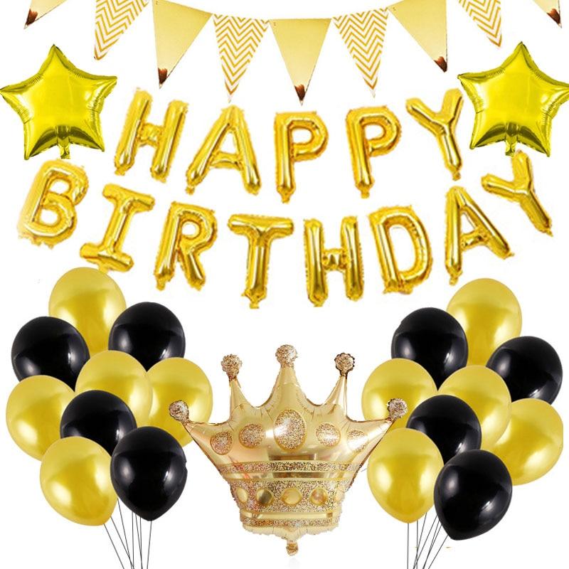 Ouro preto feliz aniversário banner balões número de hélio folha balão bling estrela para celebrar adulto festa de aniversário decorações