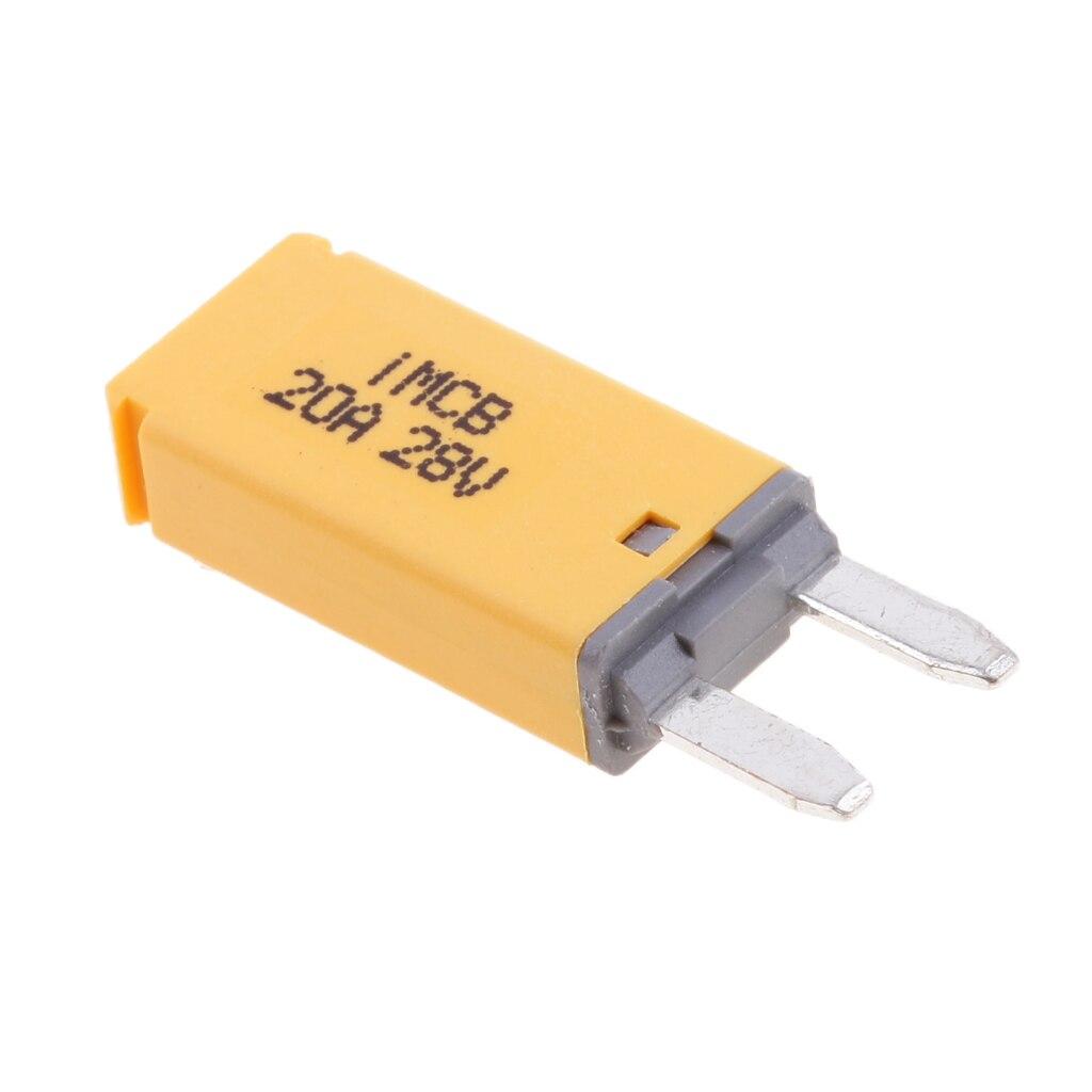 2 pcs  Car ATM Mini Blade Fuse Kit Circuit Breaker Manual Reset 20AMP Color Coded