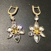 bilincolor fashion zircon crystal clear flower drop earring for women