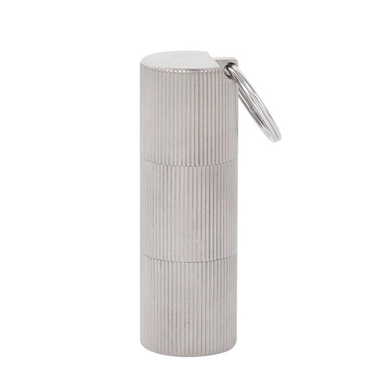 1pc impermeable de titanio puro píldora caja caso botella de envase titular al aire libre mosquetón caso pastillero Ta6118