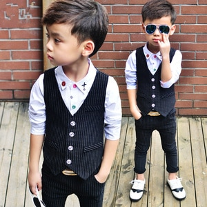 Fashion Boys Gentleman Suit Regular Boy Suits Formal Blazers 2 Piece Suits (vest+pants) Costume For Boy clothing sets Weddings