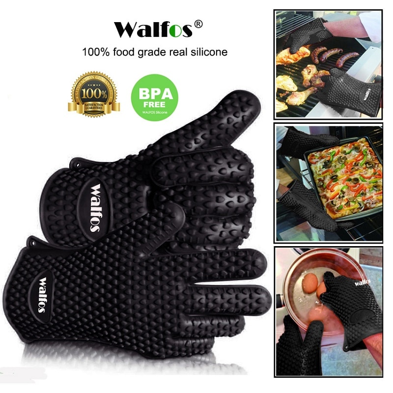 WALFOS 2 Piece Food Grade Heat Resistant Silicone Kitchen Barbecue Oven Glove Cooking BBQ Grill Glove Oven Mitt Baking Glove two layers new producet white cotton heat resistant glove safety working glove cotton glove oven glove protect hands