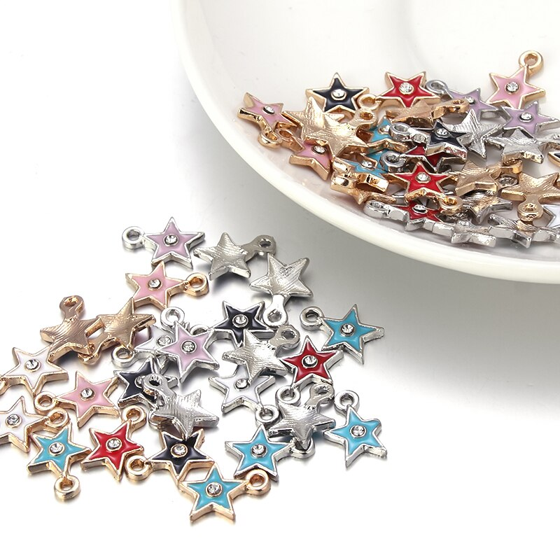 10pcs Gold Silver Color Five-pointed Star Enamel Pendants for Crafting Jewellery Making Micro Pave C