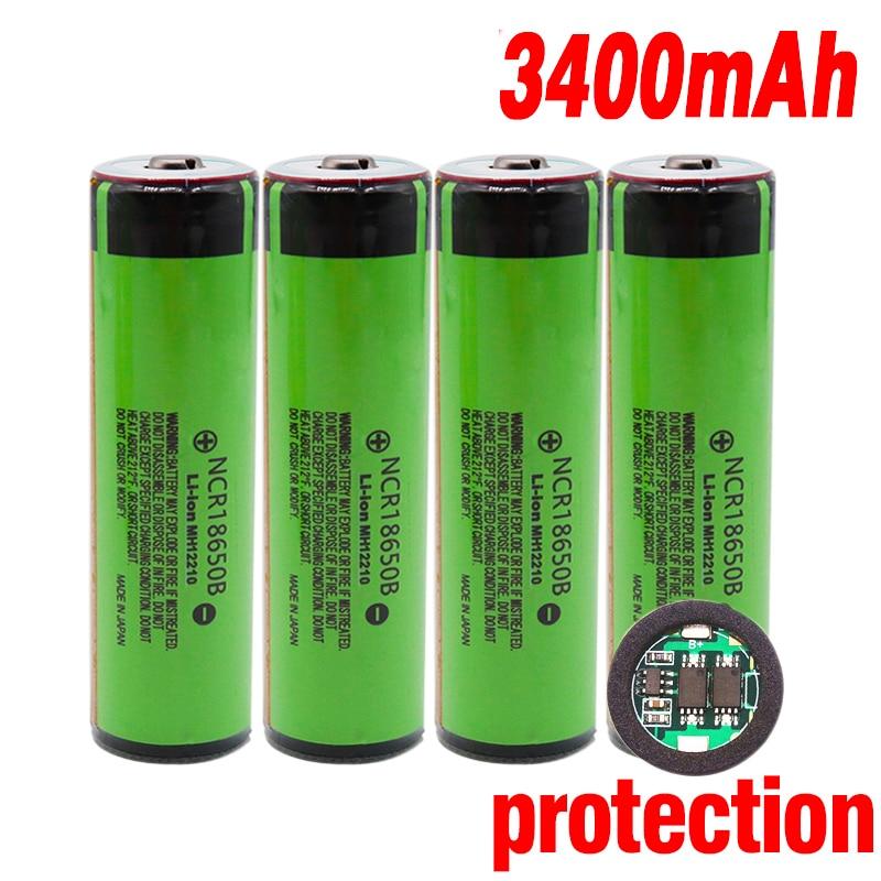 100% Original protegida 18650 NCR18650B 3,7 V batería recargable de iones de litio con 3400mAh para el uso de flashlig + PCB