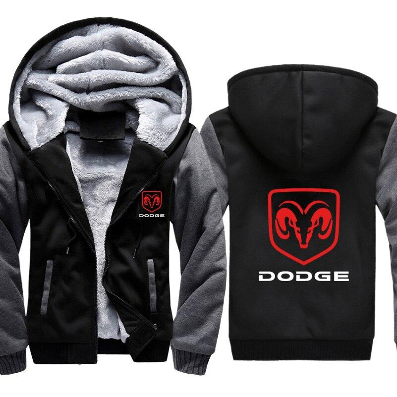 Hoodies homens dodge logotipo do carro imprimir jaqueta dos homens com capuz moda inverno engrossar lã quente algodão zíper raglan casaco masculino fatos de treino