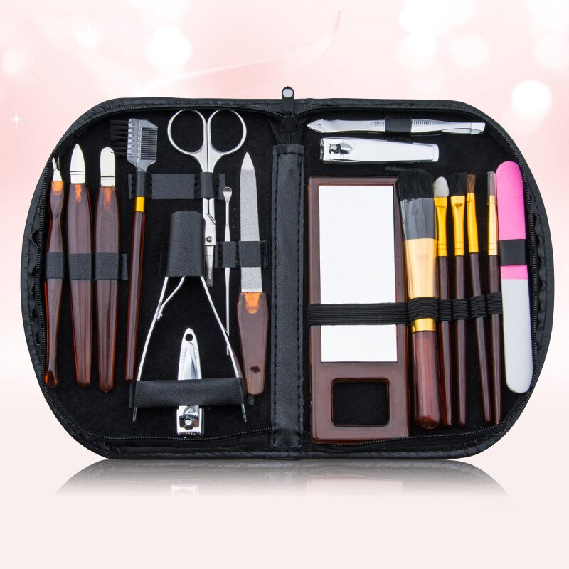 18pcs/set Manicure Nail Clipper Set Nail Clippers Ear Spoon Stainless Steel Scissor Pusher Tweezer Nail File Cutter Makeup Tools