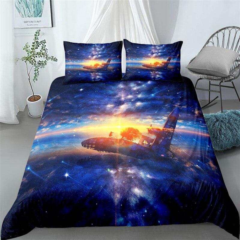 رائعة ستار سكاي ثلاثية الأبعاد طقم سرير الملك الملكة مزدوجة كاملة التوأم حجم واحد أغطية سرير مجموعة
