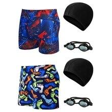 3 teile/satz Männer Badeanzug, Shorts & Schwimmen Brille & Kappe Männer Schwimmen Briefs Schwimmen Shorts Badeanzug Surf Strand Shortss