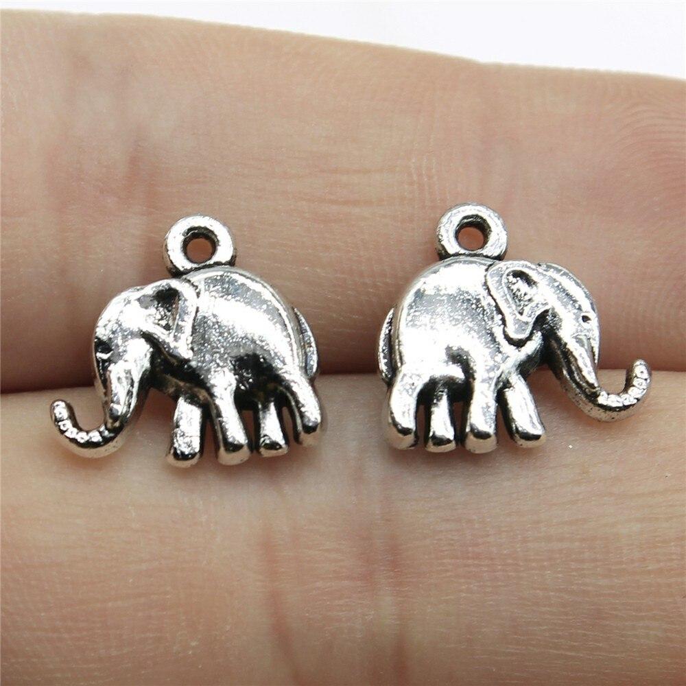 20 piezas de dijes de elefante encantador 14x14mm colgantes tibetanos de joyería antigua para hacer manualidades hechas a mano para collar de pulsera
