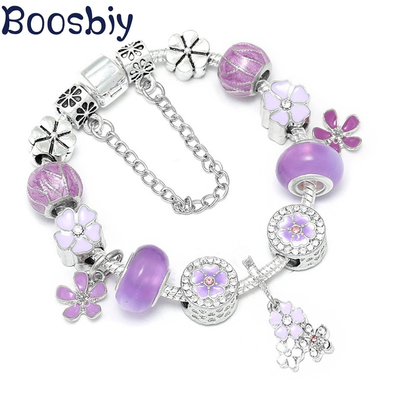 Boosbiy, pulsera plateada de estilo europeo, abalorios de flores de cristal púrpura DIY, pulseras de marca para mujer, regalo de joyería