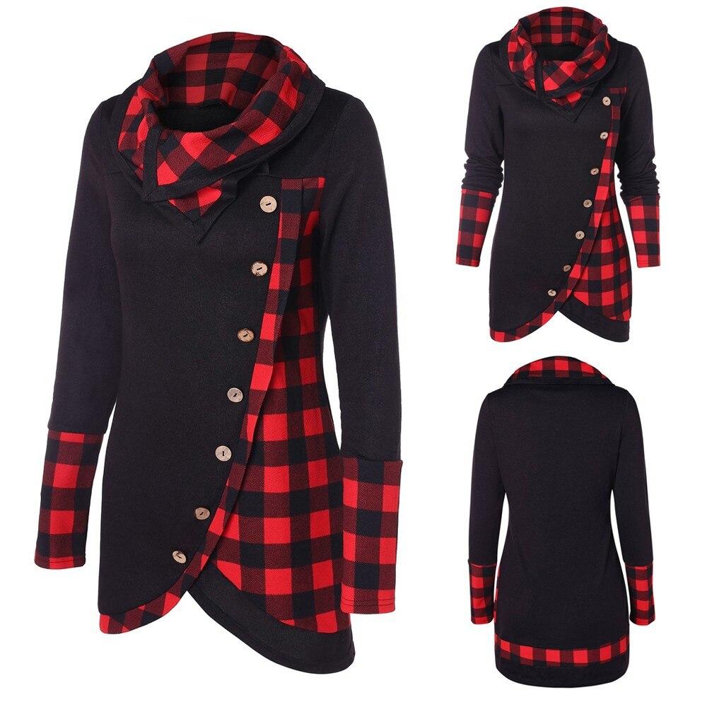 Blusa de mujer a cuadros de lana de manga larga Irregular dobladillo a cuadros Botón de cuello alto tartán túnica Vintage sudadera Jersey camisetas nuevas