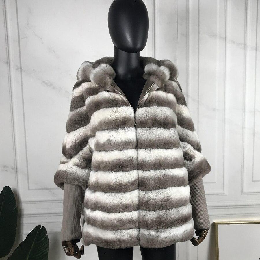 ريكس الأرنب الفراء سترة أفضل بيع معطف الفرو الإناث الشتاء موضة أبلى محبوك طوق و الكفة معطف جودة عالية