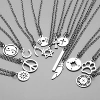 classic fashion stainless steel silver color pendant necklaces unisex long chain necklaces jewelry for women girls