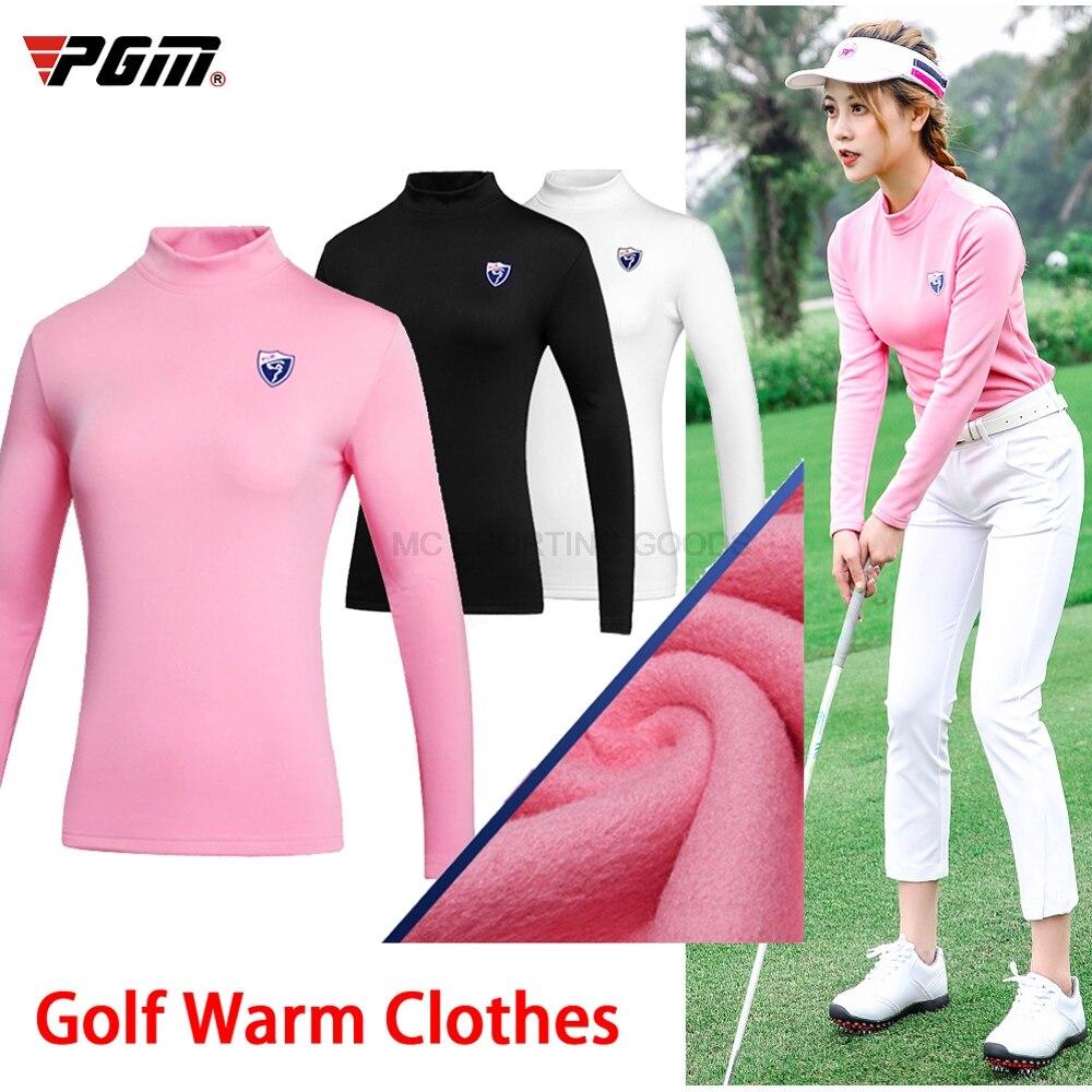 Ropa de golf PGM, camisa de ropa interior térmica caliente de manga larga de tela elástica, camisa de mujer con franela