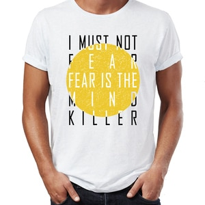 Hip Hop Men T-shirts Fear Is The Mind Killer  Awesome Artwork Drawing Printed Street Guys Tees Swag Cotton Camiseta plus size