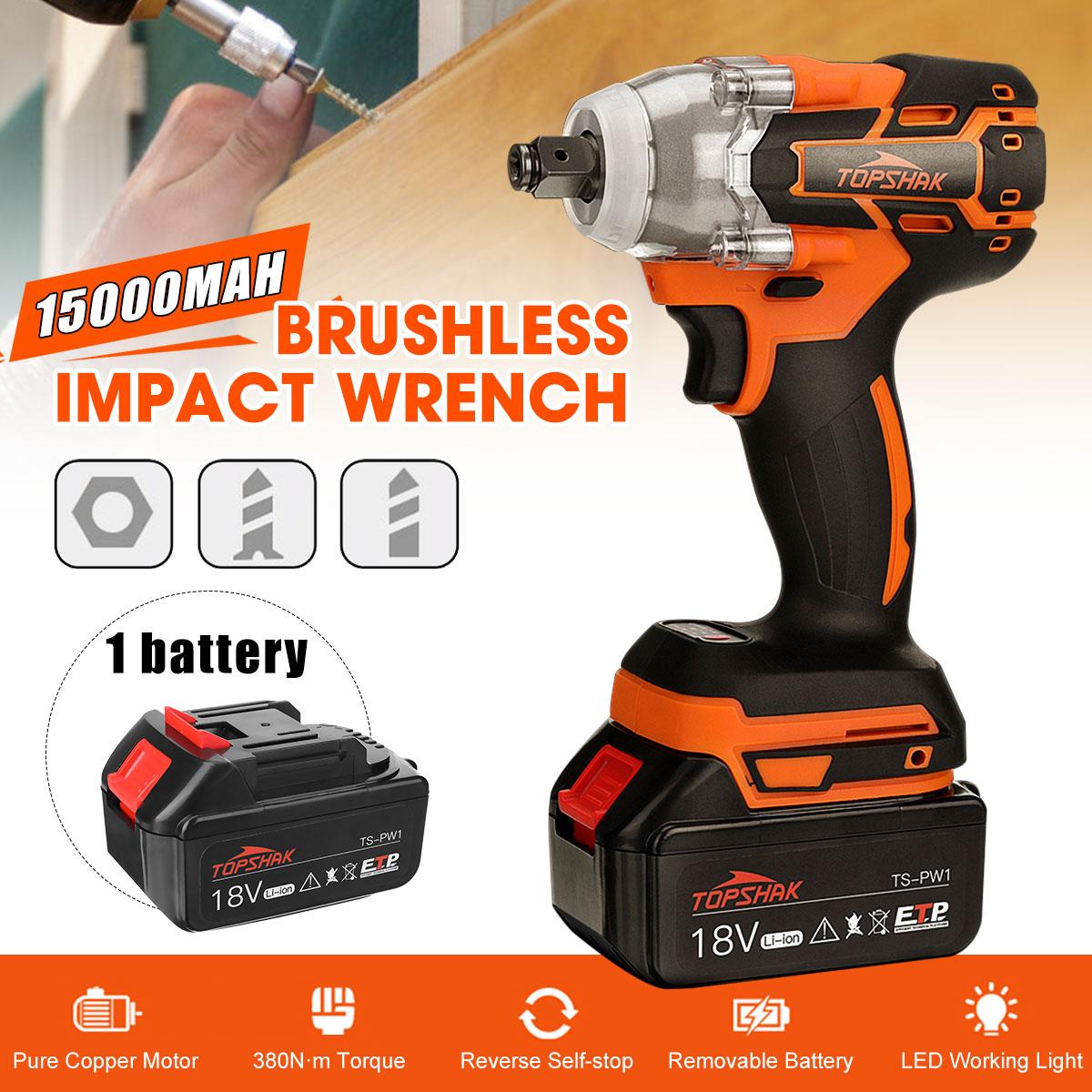 Chave de Impacto Elétrica sem Fio Recarregável com Ferramentas Elétricas da Bateria Topshak Mbrrushless 15000mah Ts-pw1 380n. Led