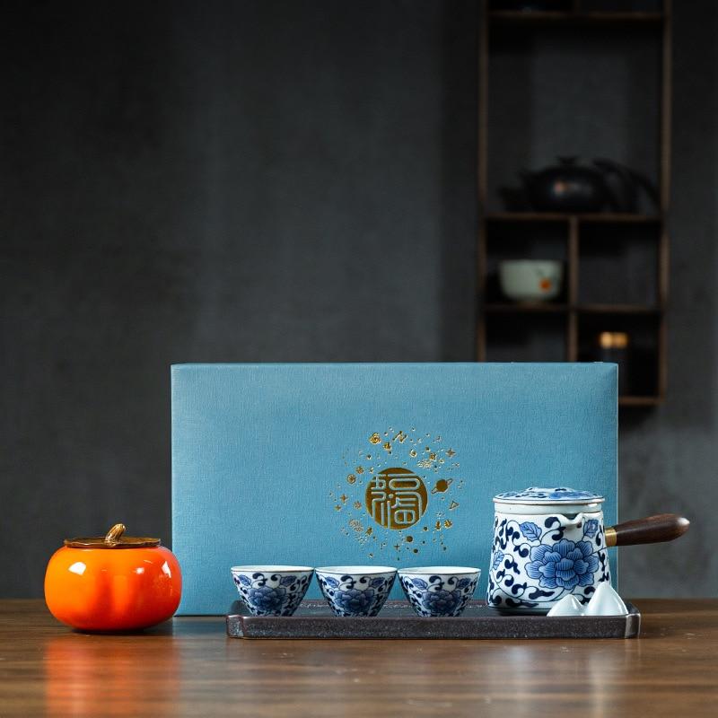 الصينية ملعقة صغيرة الرجعية الأزرق والأبيض الخزف مقبض جانبي إبريق الشاي الكونغ فو teبينة 1 وعاء 3 أكواب بسيطة الجافة فقاعة صغيرة مجموعة هدية