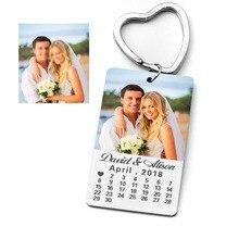 شخصية سلسلة المفاتيح التقويم ، سلسلة مفاتيح مخصصة ، سلسلة مفاتيح صور ، مخصص صورة النص كيرينغ ، هدية للذكرى السنوية لصديقها